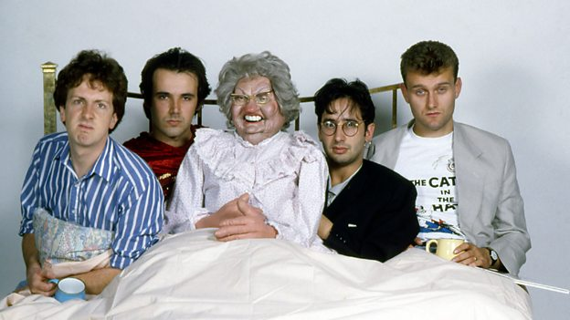 Sleeping Partners: The Mary Whitehouse's (from the left) Steve Punt, Rob Newman, David Baddiel and Hugh Dennis get to grips with their inspiration. (Photo copyright: BBC)