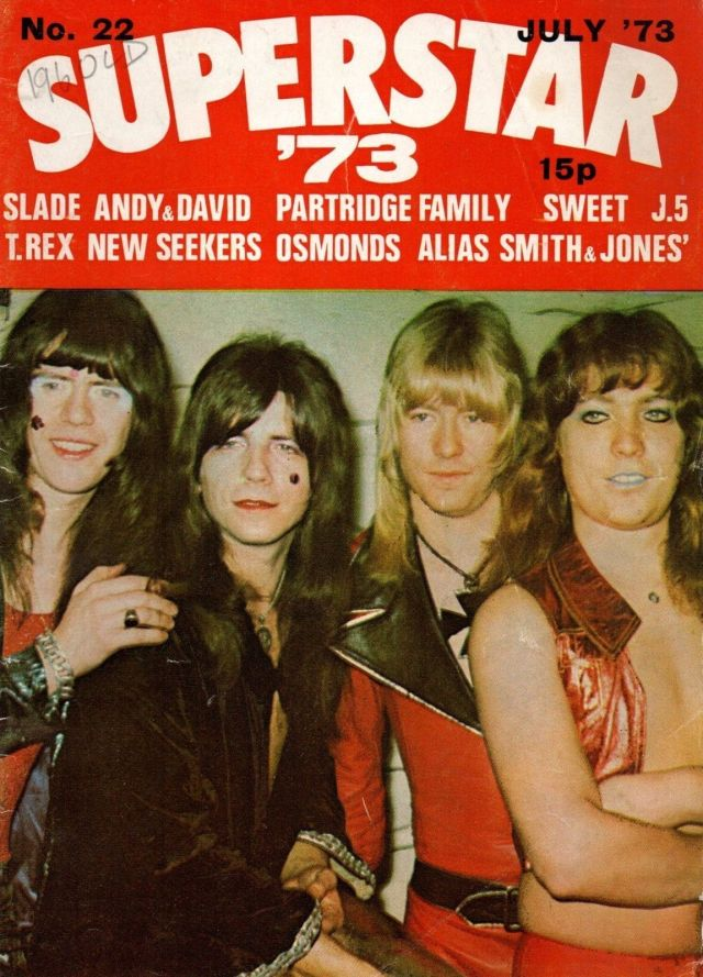 Cover stars: Sweet take the front by storm for SuperStar '73. From the left: Mick Tucker, Andy Scott, Bruan Connolly, Steve Priest.