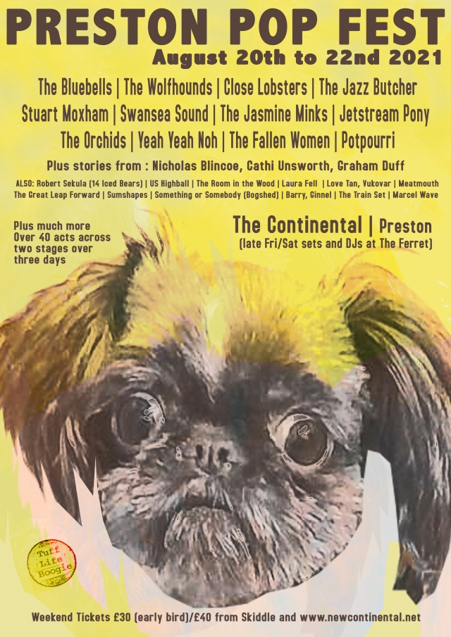 Coming Soon:  A cover starring role for Rico's Coco on the Preston Pop fest bill, neatly designed by The Great Leap Forward's Simon Williams